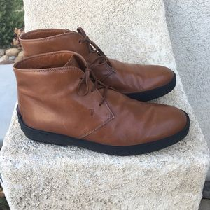 Tods ankle boots caramel brown leather size 9